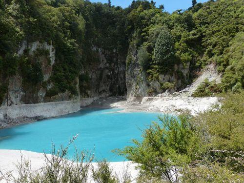 Naujoji Zelandija,gamta,kraštovaizdis,vulkanizmas,vulkaninis,krateris,šiaurinė sala,ežeras,tvenkinys,kalkės,miškas