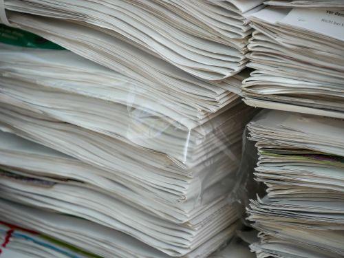 newspaper pile stack