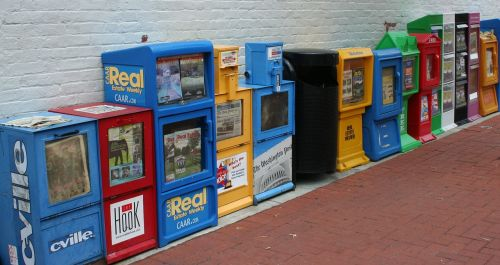 newspapers pamphlets vending machines