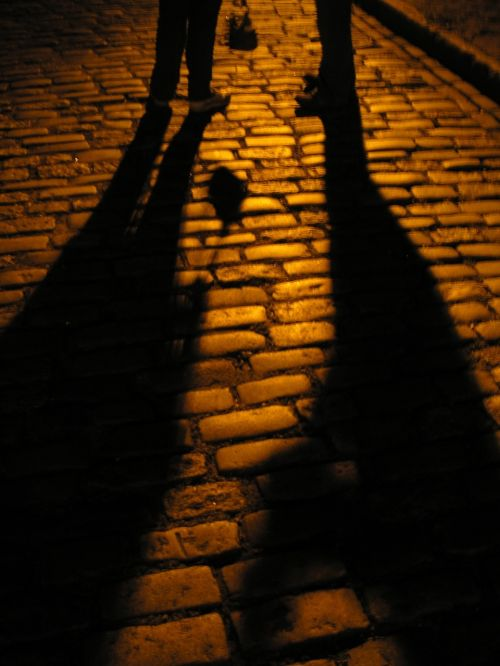 night cobblestone shadows
