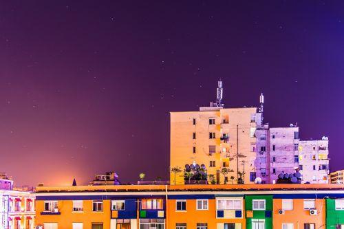 night long exposure tirana