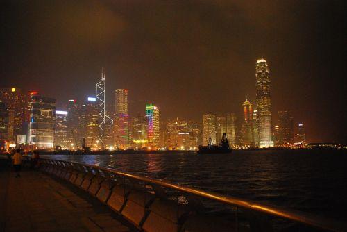 night hong kong buildings