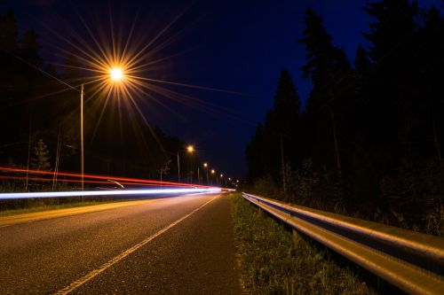 night road long exposure