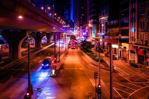 night  hong kong  city