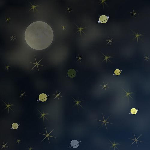night  moon  planets