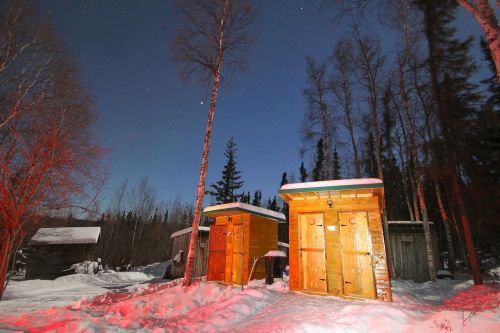 night outhouse snow