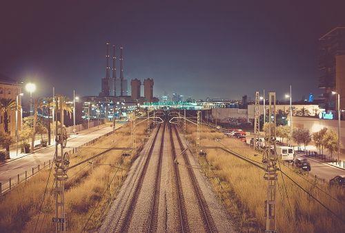 night dark train tracks