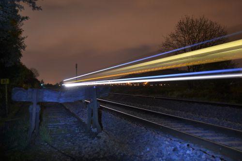 night train tracks railroad
