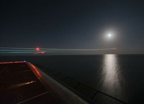 night aircraft carrier ship