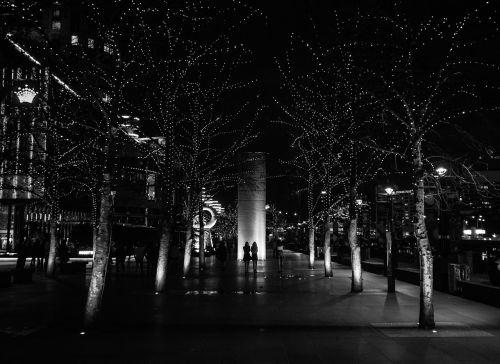 naktis, vaikščioti, miestas, miesto, žibintai, vaikščioti, moteris, jaunas, gatvė, apsipirkimas, mada, siluetas, šiuolaikiška, pastatas, balta