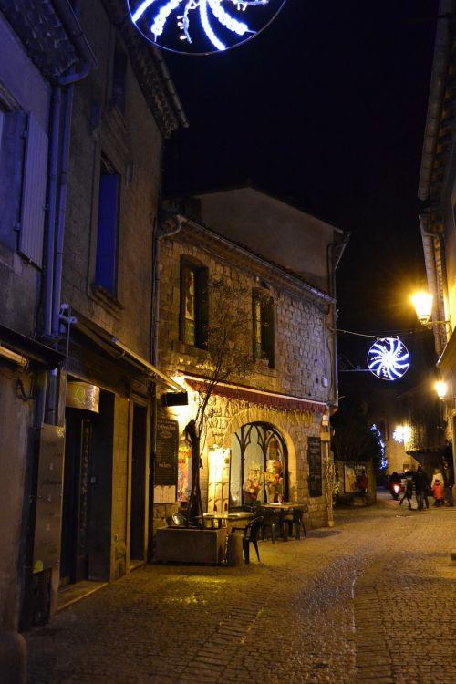 night christmas medieval street