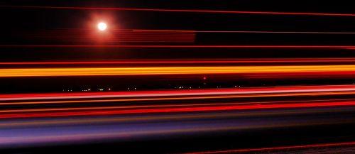 night highway light trail highway