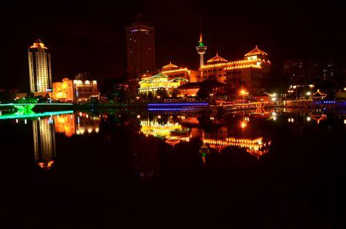 kraštovaizdis, vanduo, naktis, naktis & nbsp, scenoje, verslas, turizmas, žibintai, lengvas & nbsp, efektas, objektai, miestas, nakties & nbsp, laikas, kitas, Kinija, nantong, Jiangsu, naktis nantong