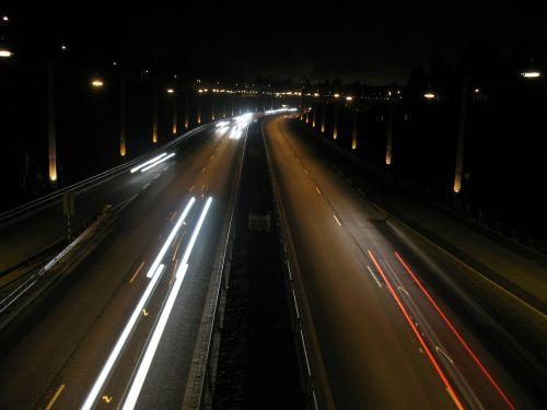 night lights road cars