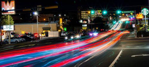 night photograph road lights