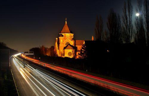 night photograph highway traffic
