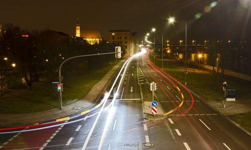 night photograph light strips road