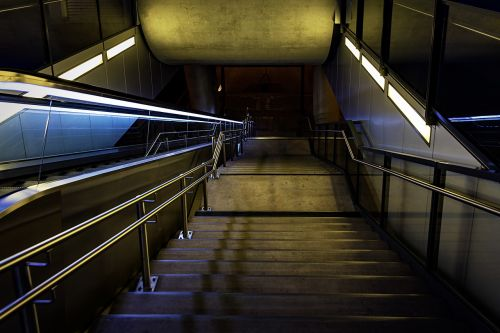 night photograph railway station stairs