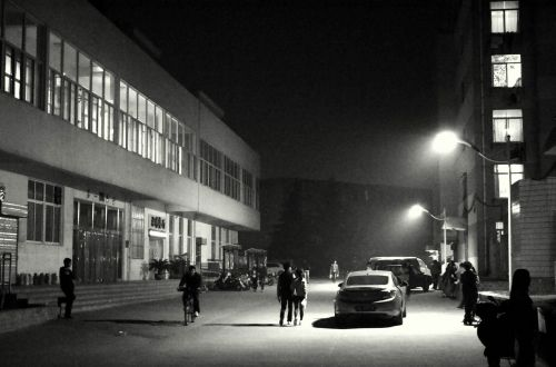 kraštovaizdis, naktis, naktis & nbsp, scenoje, apšvietimas, Campus, juoda & nbsp, balta, žmonės, naktis scenoje miesteliu