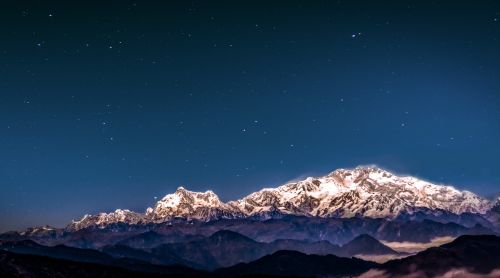 night sky stars mountains