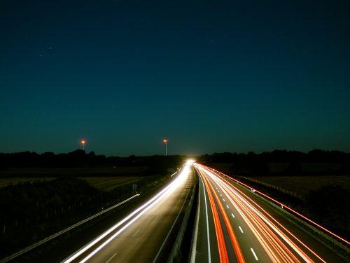 night sky highway light traces