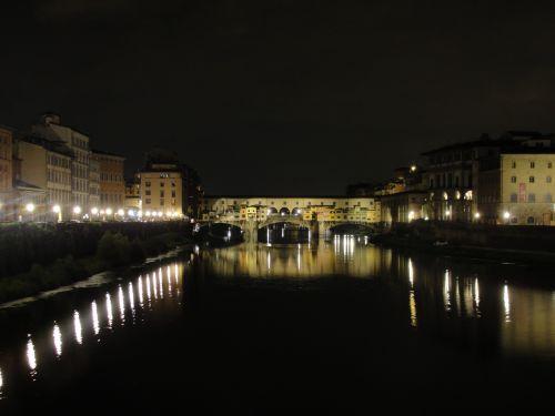 upė, naktis, tiltas, italy, Florencija, atspindys, naktis ponte vecchio