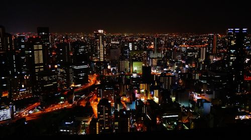 night view osaka japan