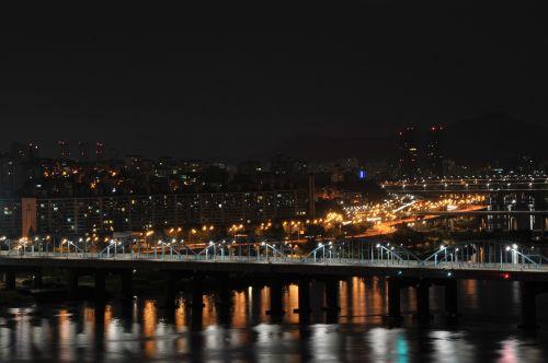 night view motion bridge han river