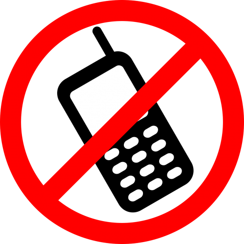 no cellphones cellphone not allowed signage