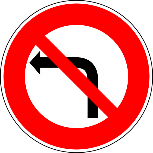 no left-turn traffic sign sign