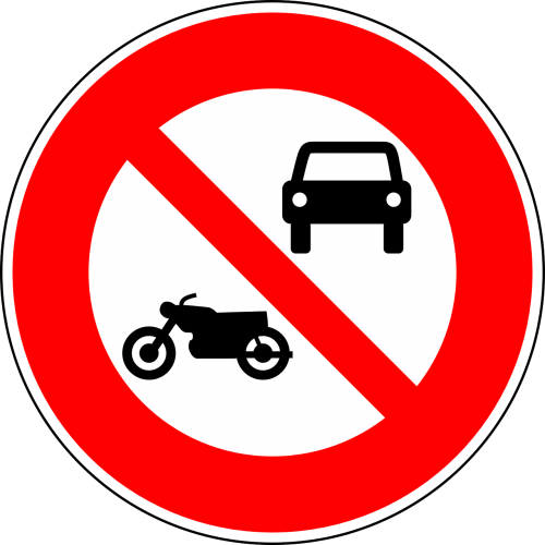 no motor vehicles no motorcycles traffic sign