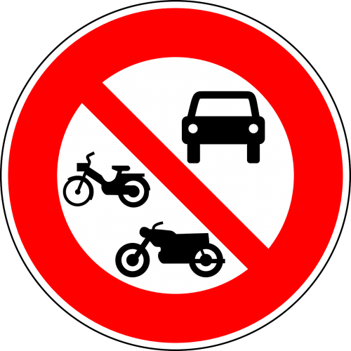 no motor vehicles no motorcycles no mopeds