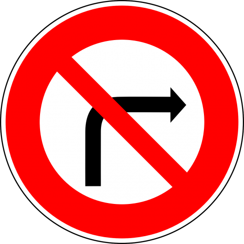 no right-turn traffic sign sign