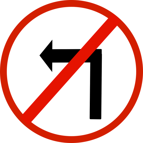 no turn left left arrow