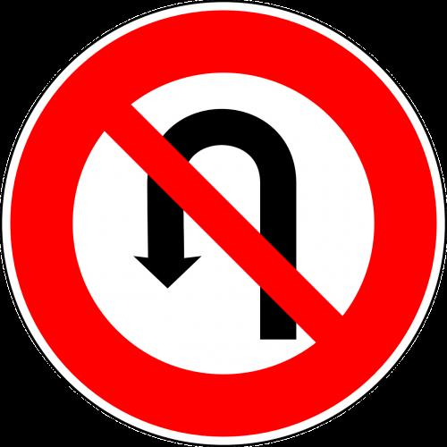 no u-turn traffic sign sign