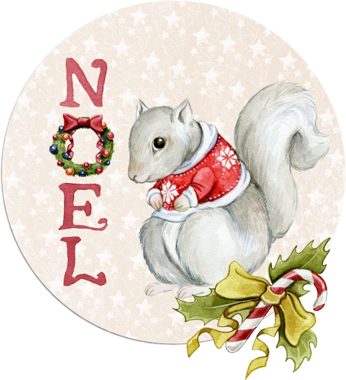 noel squirrel watercolor