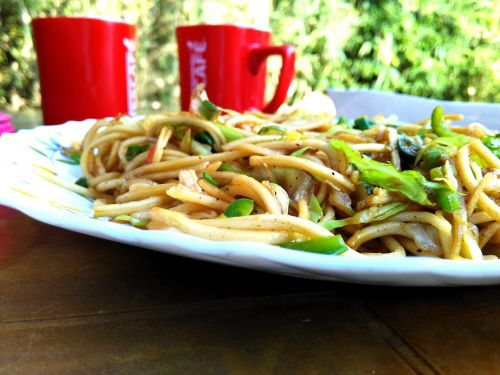 noodles coffee food