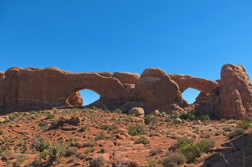 north and south windows  arch  sandstone