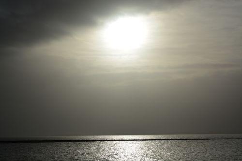 north sea black and white water