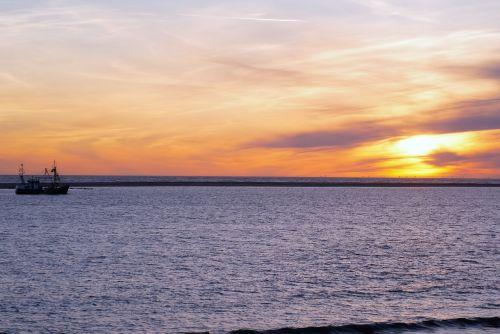north sea borkum sunset