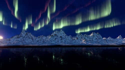 northern lights mountains aurora borealis