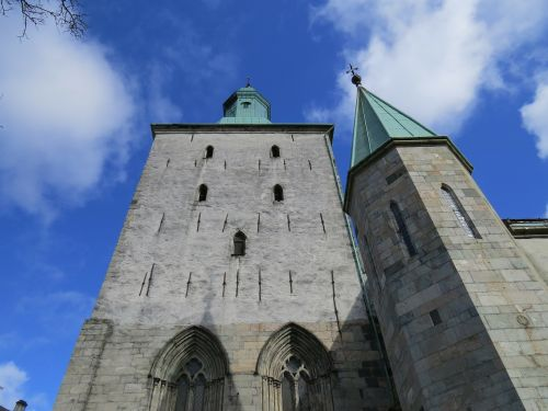 norway main entrance to the cathedral in bergen in april blue sky bergen