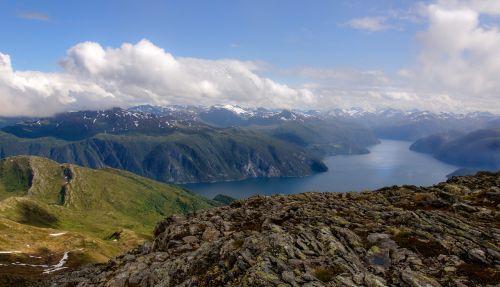 norvegų,Norvegija,fjordas,norvegų fjordas,pobūdis,Peržiūros,dangus,debesys,vanduo,jūra,kalnas,sniegas,piko