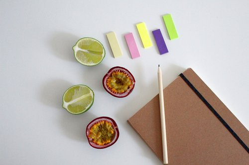 notebook  write  fruit