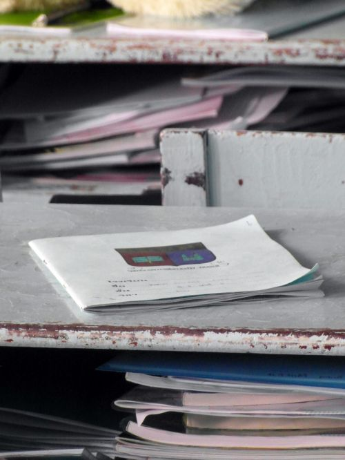 Notebooks On School Desks