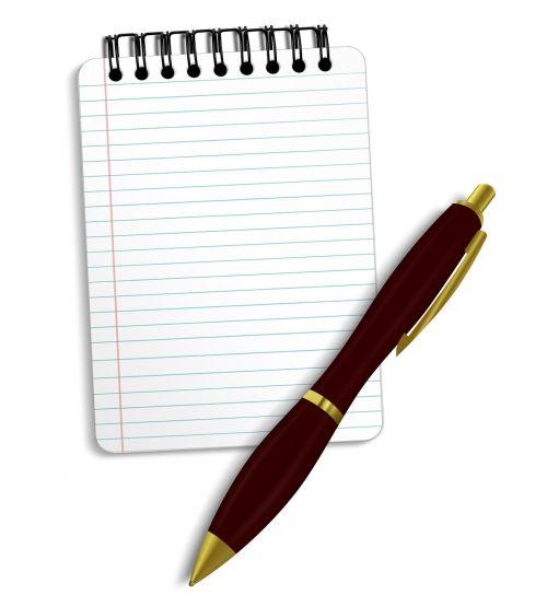 notepad pen notebook