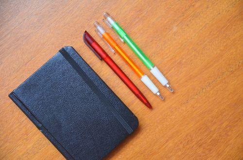 notepad diary pencils