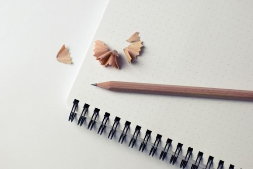 notepad pencil shavings