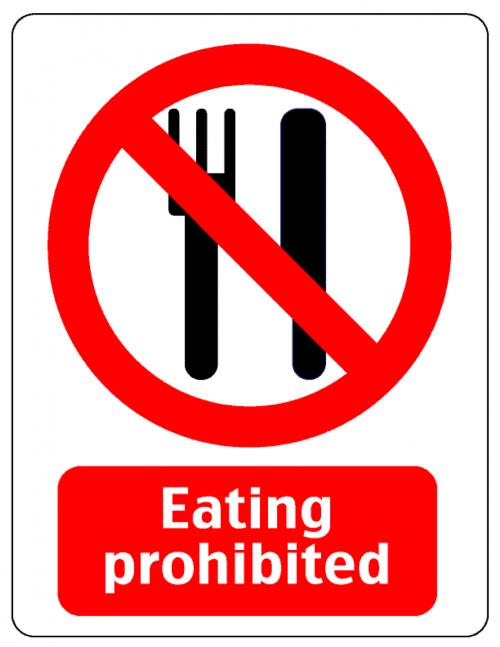 notice warning eating