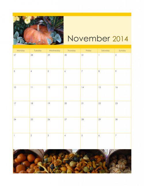 November 2014 Harvest Calendar